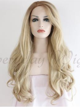 "24"" Blonde Ombre wavy Synthetic Lace Front Wig-edw1043"