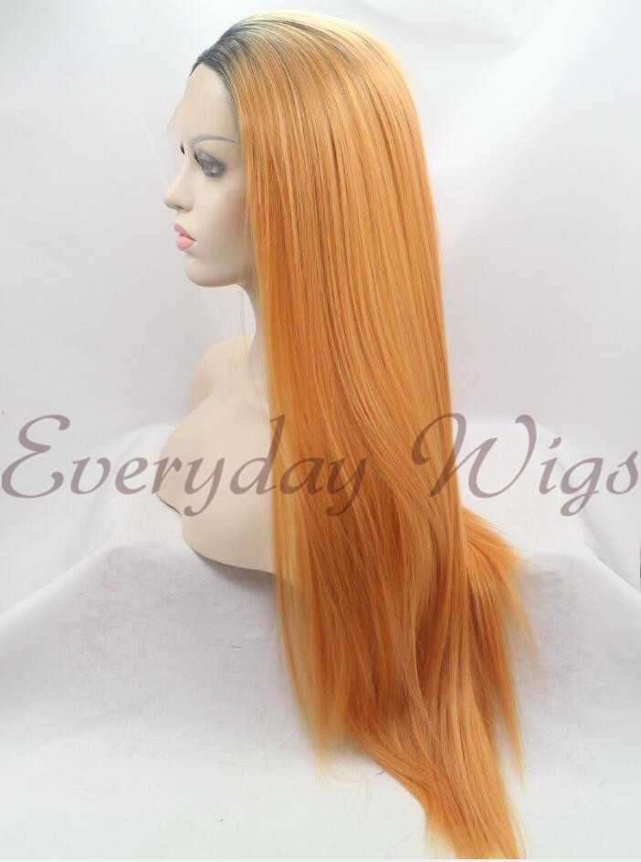 "26"" Orange Straight Ombre Synthetic Lace Front Wig-edw1044"
