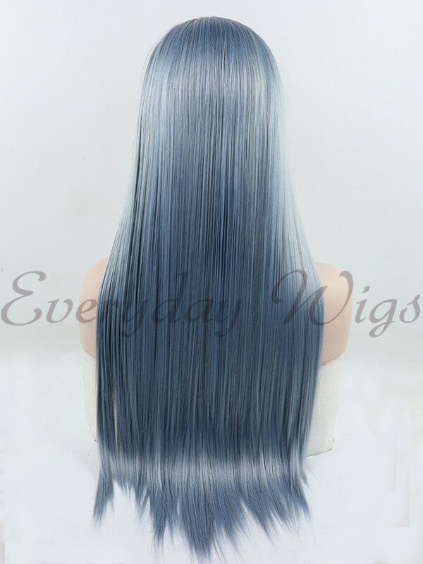 "24"" Blue Mix Grey Straight Synthetic Lace Front Wig-edw1046"