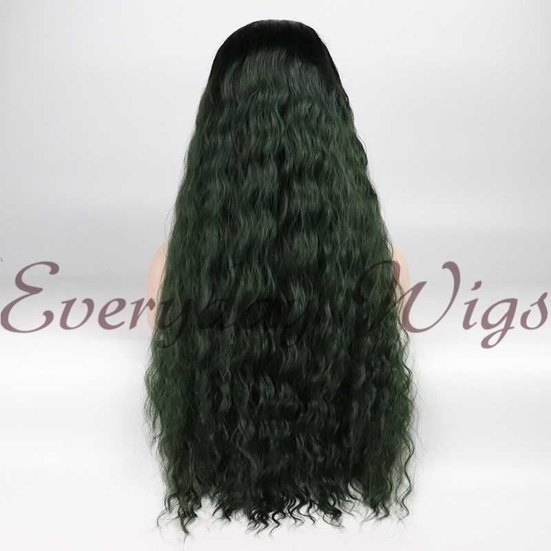 "24"" Ombre green Wavy Synthetic Lace Front Wig-edw1047"