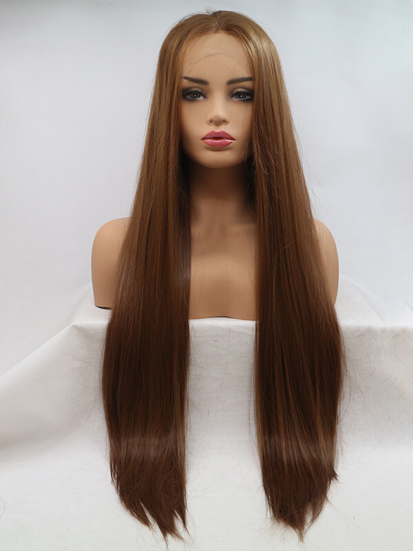 "24"" Ombre Brown Wavy Synthetic Lace Front Wig-edw1048"