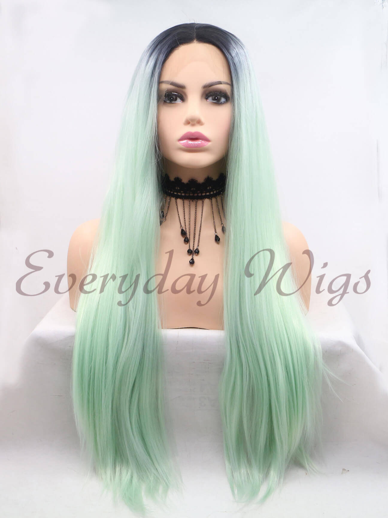 "26"" Ombre Green Synthetic Lace Front Wig-edw1049"