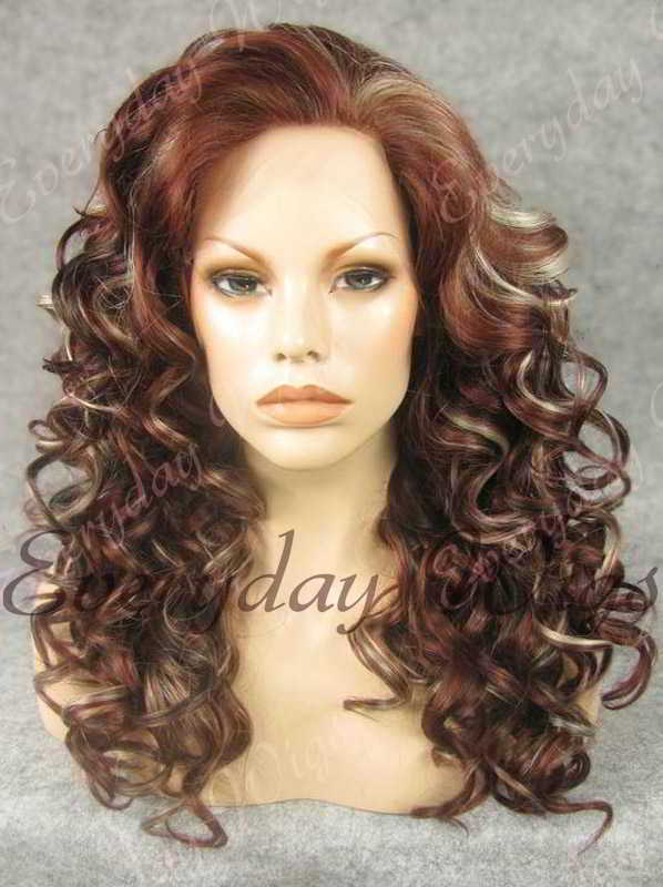 "24"" Highlight Color Long Wavy Synthetic Lace Front Wig - edw105"