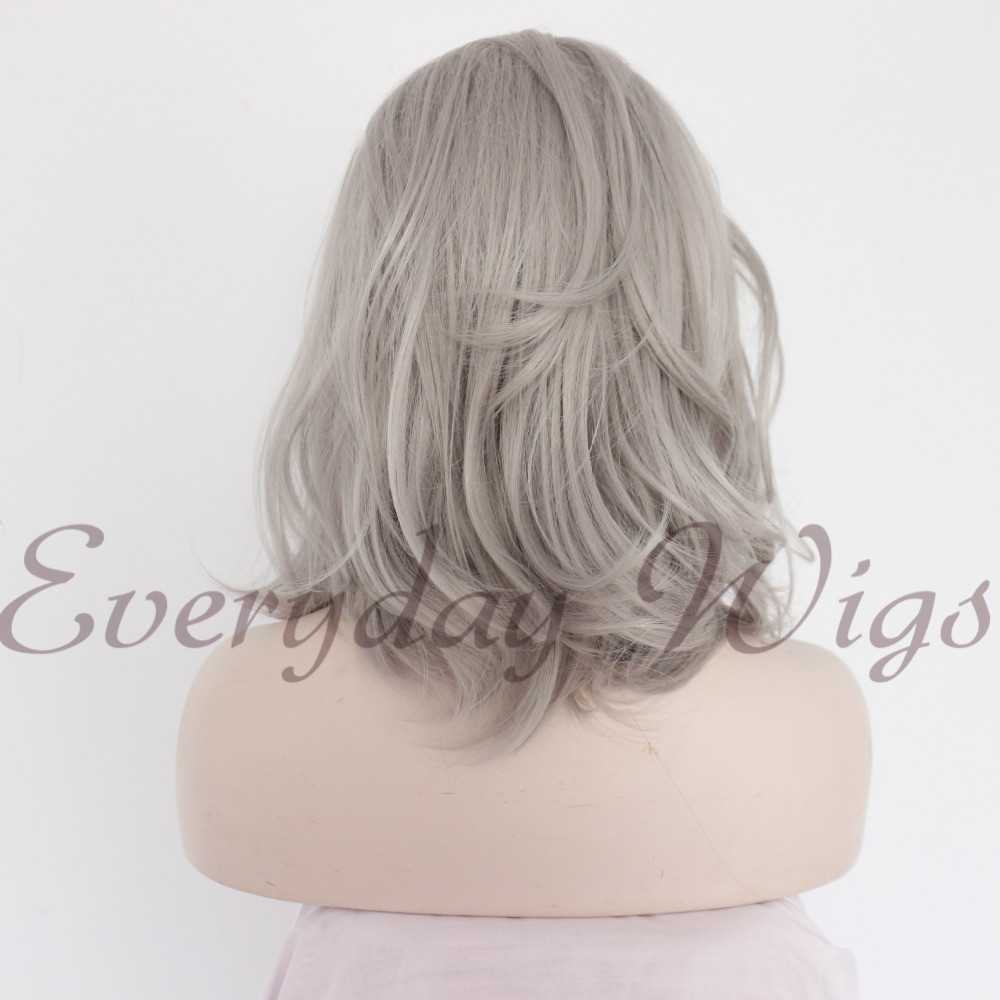 "14"" Black/Grey Ombre Wavy Synthetic Lace Front Wig-edw1051"
