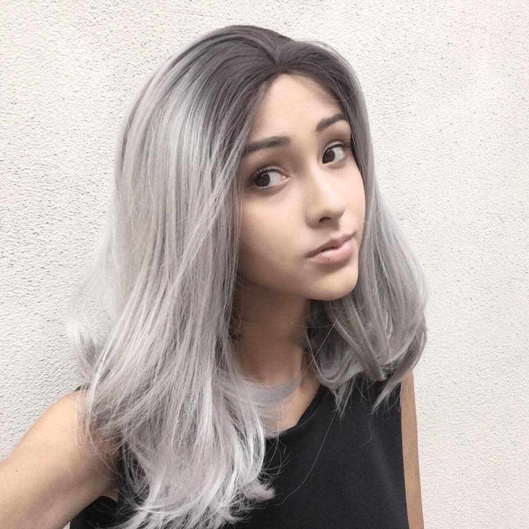 "14"" Black/Grey Ombre Synthetic Lace Front Wig-edw1051"