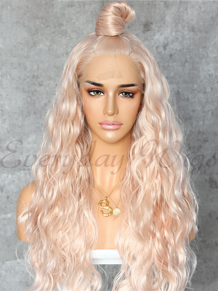 "26"" Long Blonde Highlight Synthetic Wigs-edw1052 - Click Image to Close"
