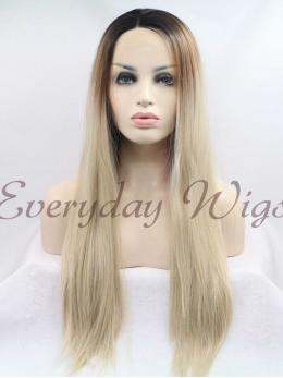 "26"" ombre blonde Long Synthetic Lace Front Wigs-edw1053"