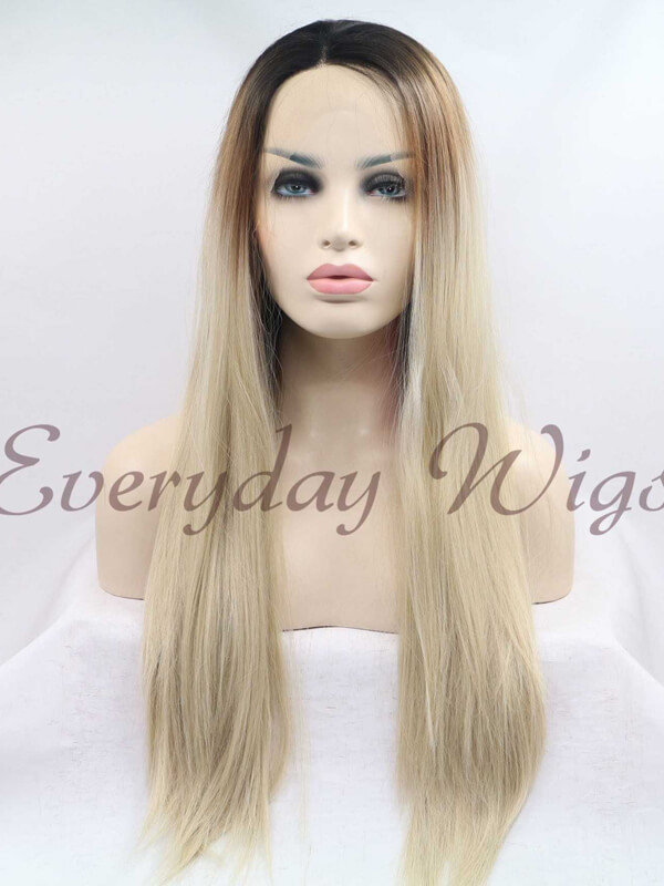 "24"" ombre blonde Long Wavy Synthetic Lace Front Wigs-edw1053"
