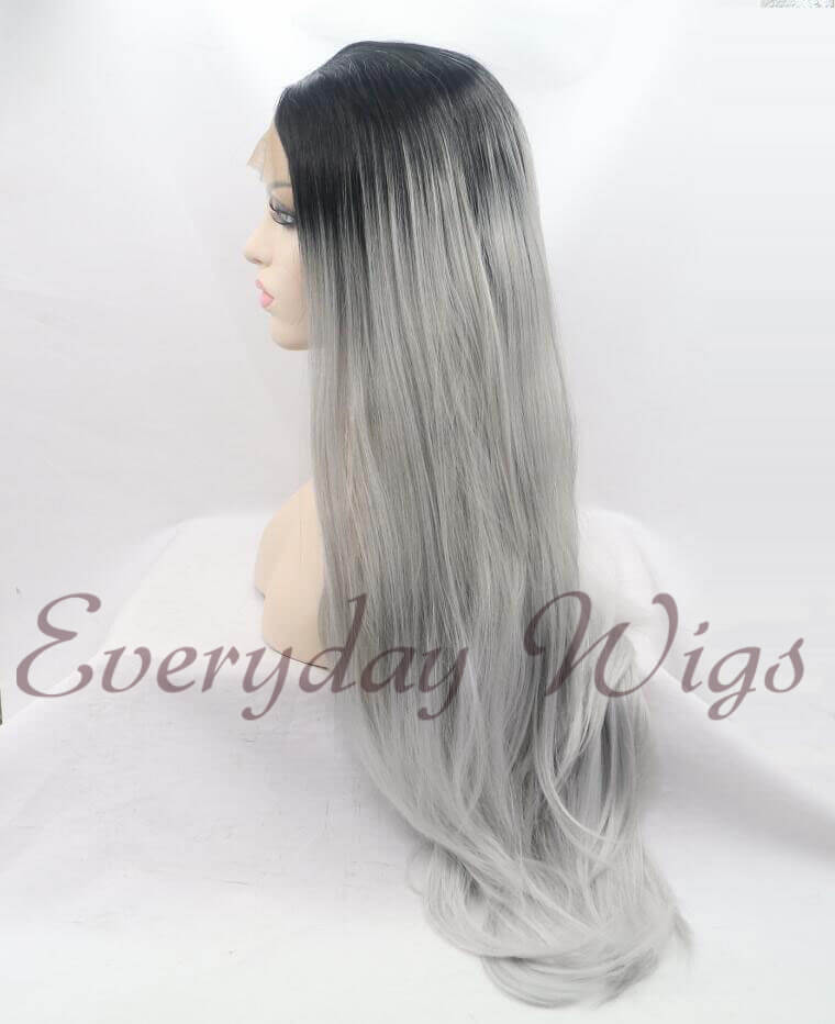 "26"" Grey Ombre Straight Synthetic Lace Front Wig-edw1054"