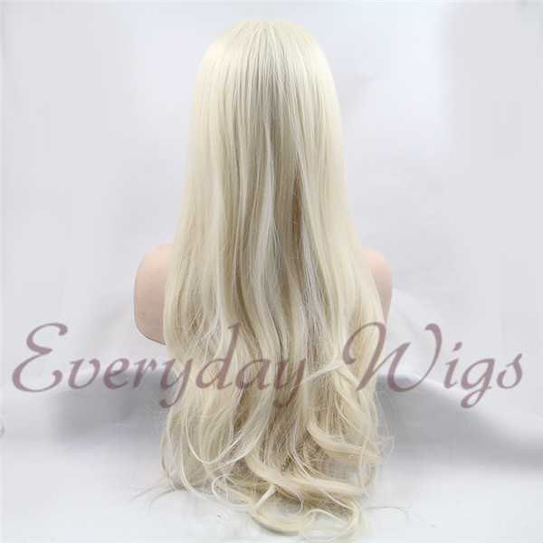 "24"" Off White Blonde Straight Synthetic Lace Front Wig-edw1055"