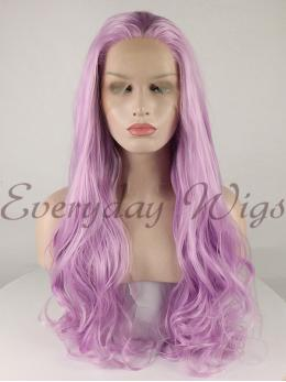 "24"" Long Purple Wavy Synthetic Lace Front Wig-edw1057"