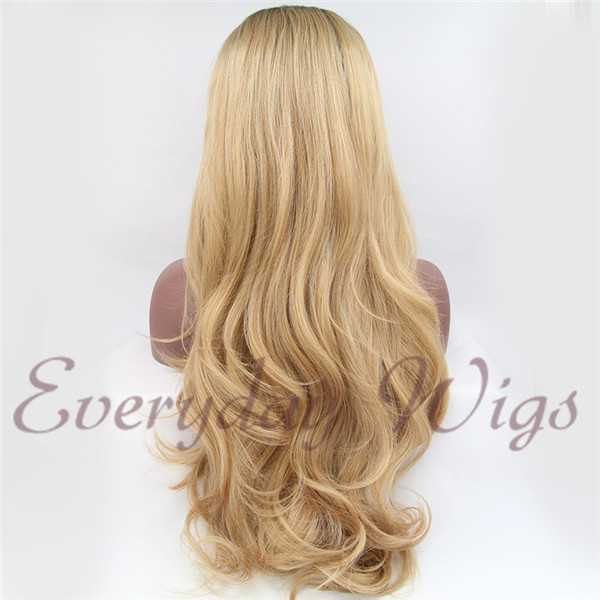 "26"" Medium Ash Blonde Wavy Synthetic Front Lace Wigs-edw1058"