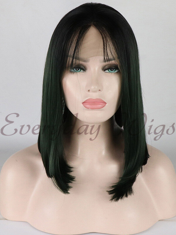 "24"" Light Blue Long Straight Synthetic Lace Front Wig-edw1060"