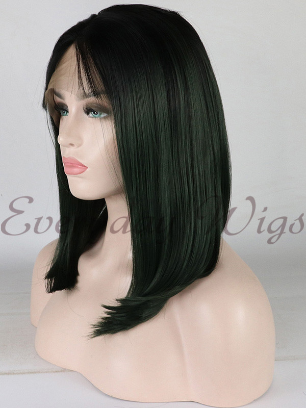 "14"" Ombre Green Short Synthetic Lace Front Wig-edw1060"