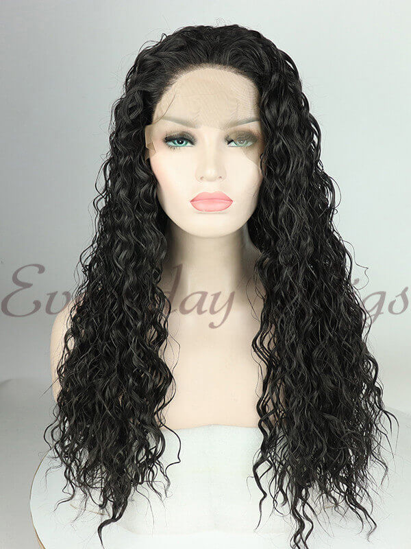 "24"" Black Curly Synthetic Lace Front Wig-edw1061"