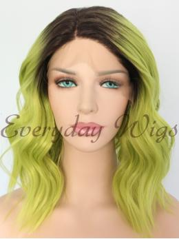 "14"" Black Green Short Bob Synthetic Lace Front Wig-edw1062"