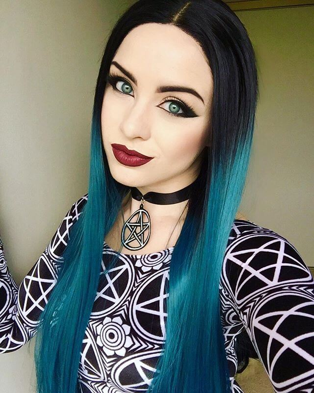 "24"" Peacock Green Ombre Straight Synthetic Lace Front Wig-edw1063"