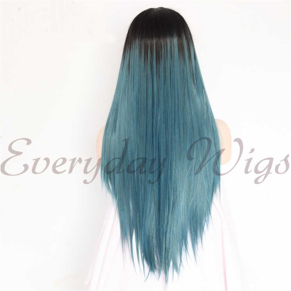 "24""Blue-green Ombre Straight Synthetic Lace Front Wig-edw1063"