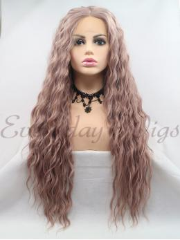 "26"" Pink Slight Wavy Synthetic Lace Front Wig-edw1064"