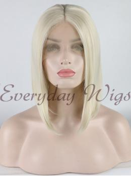 Short Blonde Synthetic Lace Front Wig - edw1067