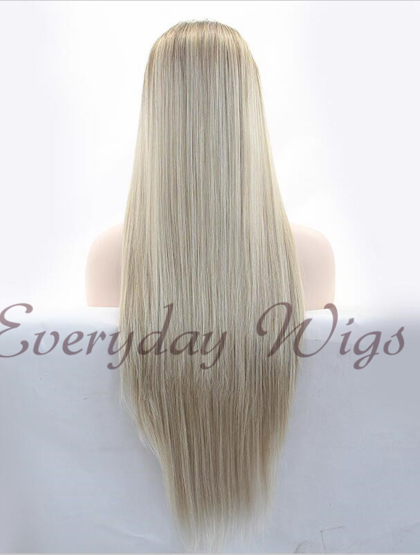 "26"" Brown/Blonde Straight Synthetic Lace Front Wig-edw1068"