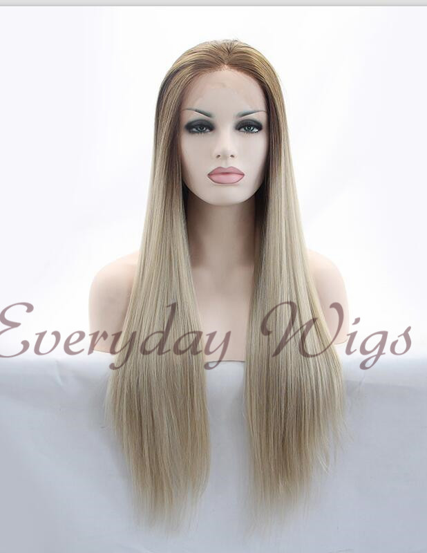 "26"" Brown/Blonde Straight Synthetic Lace Wig-edw1068"