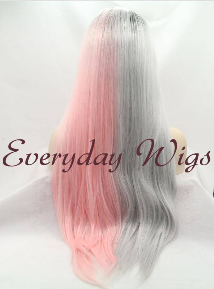 "26"" Half Grey Half Pink Ombre Wavy Synthetic Lace Front Wig-edw1069"