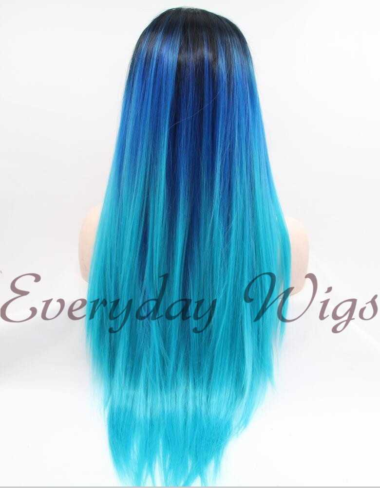 "26"" Three-tone Ombre Color Straight Synthetic Lace Front Wig-edw1071"