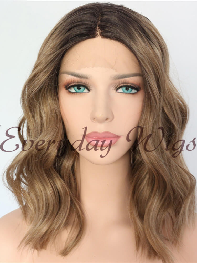 "18"" Black/Pink Ombre Straight Synthetic Lace Front Wig-edw1072"