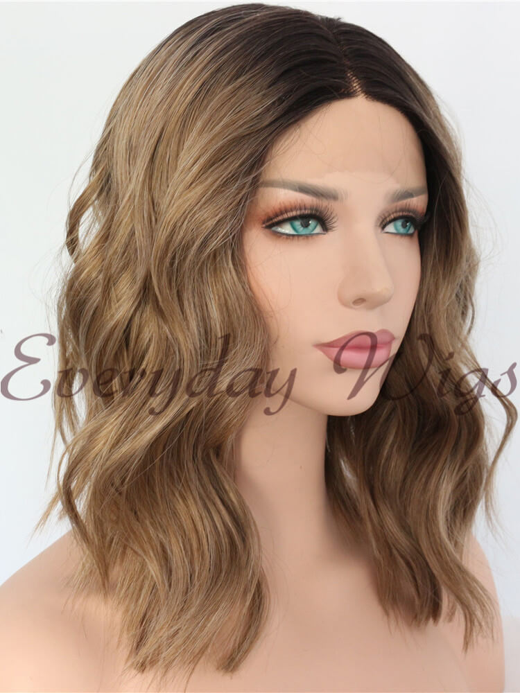 "14"" Black/Pink Ombre Straight Synthetic Lace Front Wig-edw1072"