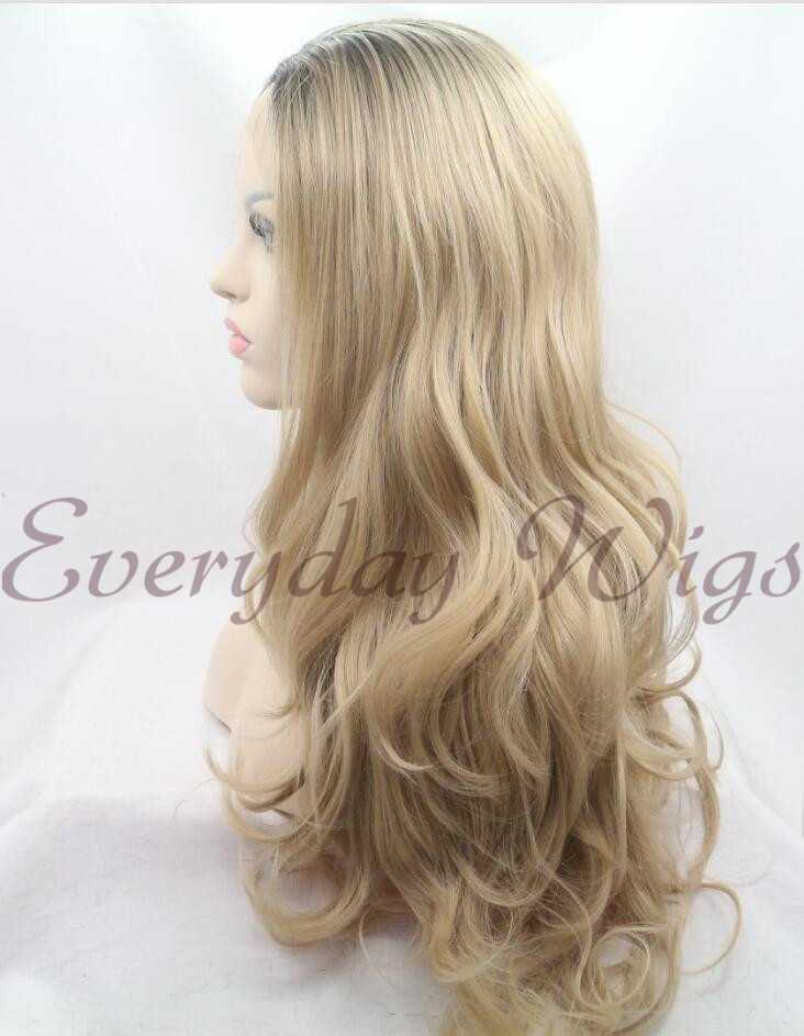 "26"" Blonde Ombre Wavy Synthetic Lace Front Wig-edw1073"