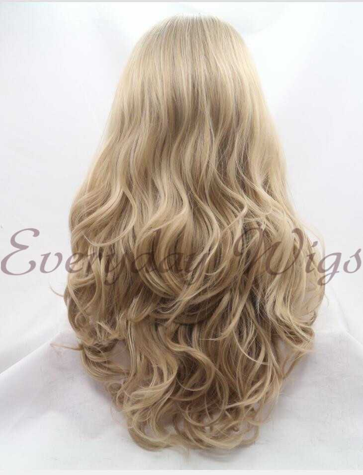 26 Blonde Ombre Wavy Synthetic Lace Front Wig-edw1073