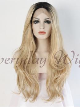 "24"" Blonde Ombre Straight Synthetic Lace Front Wig-edw1074"