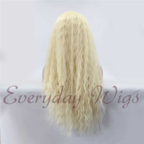 "24"" White Blonde Wavy Synthetic Lace Front Wig-edw1075"