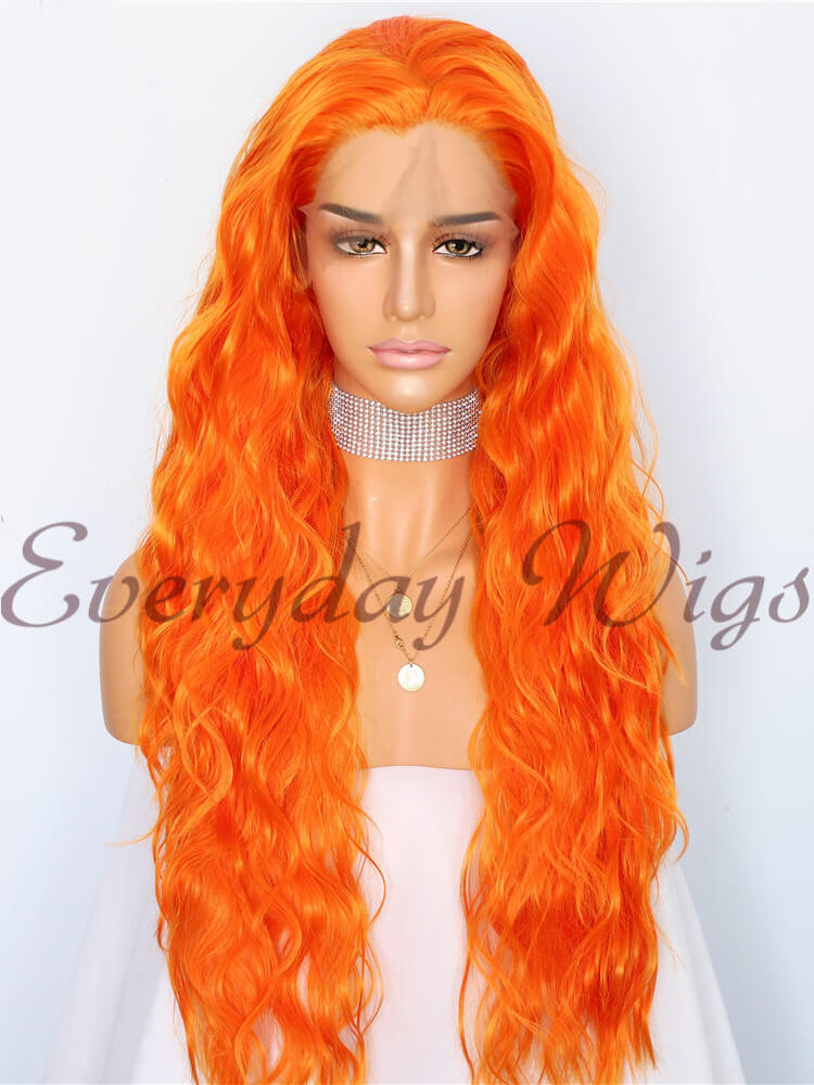 "24"" Orange Long Wavy Synthetic Lace Front Wig-edw1076"