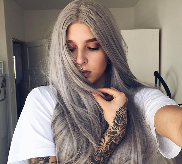 "24"" Light Grey Straight Synthetic Front Lace Wigs-edw1077"