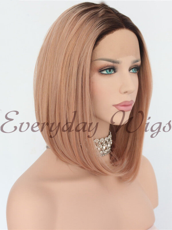"24"" Brown/Pink Ombre Color Straight Synthetic Lace Front Wig-edw1078"