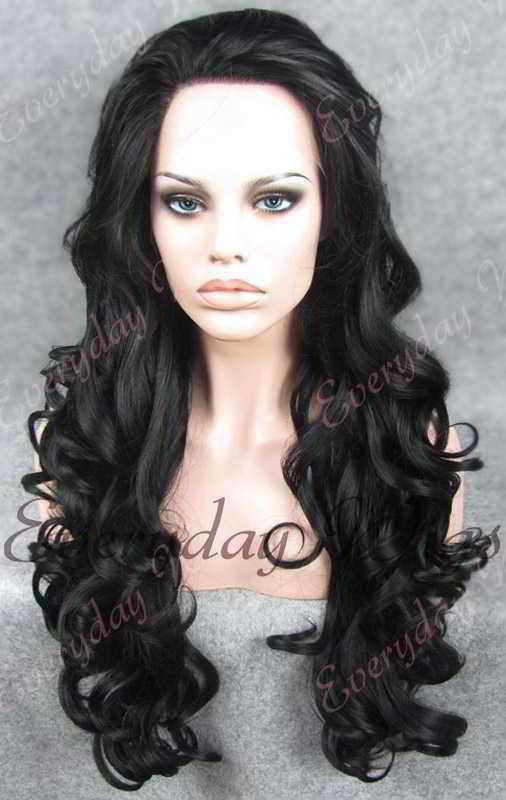 "24"" #1-Jet Black Long Wavy Synthetic Lace Front Wig - edw108"
