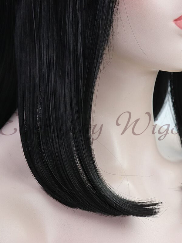 Black Short Bob Synthetic Lace Front Wigs with bangs-edw1080