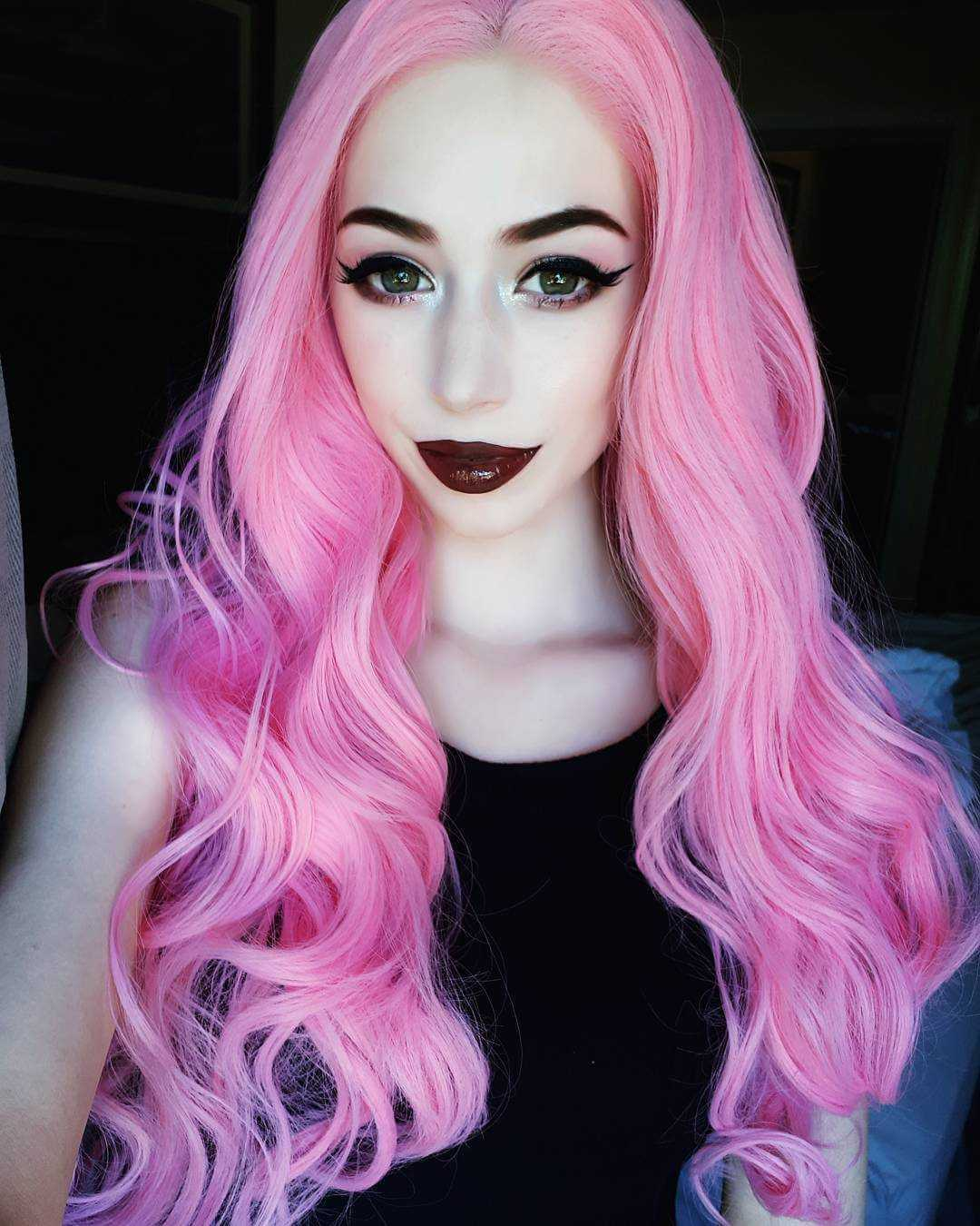 "24"" Pink Wavy Synthetic Lace Front Wig-edw1081"