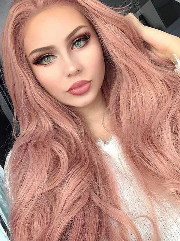 "26"" Candy Pink Wavy Synthetic Lace Front Wig-edw1082 - Click Image to Close"