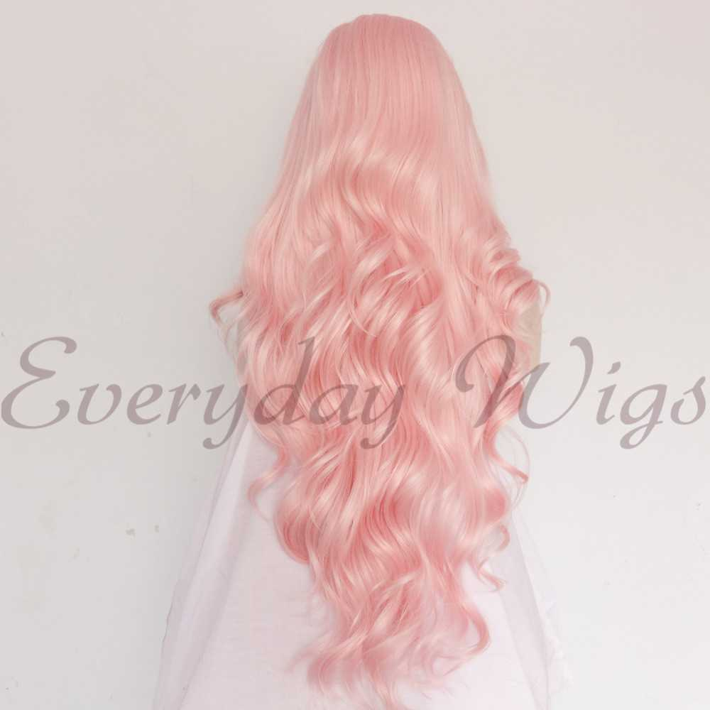 "24"" Pink Wavy Synthetic Lace Front Wig-edw1083"