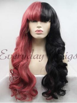 "26"" Half Black Half Pink Wavy Synthetic Wigs with Bangs-edw1085"