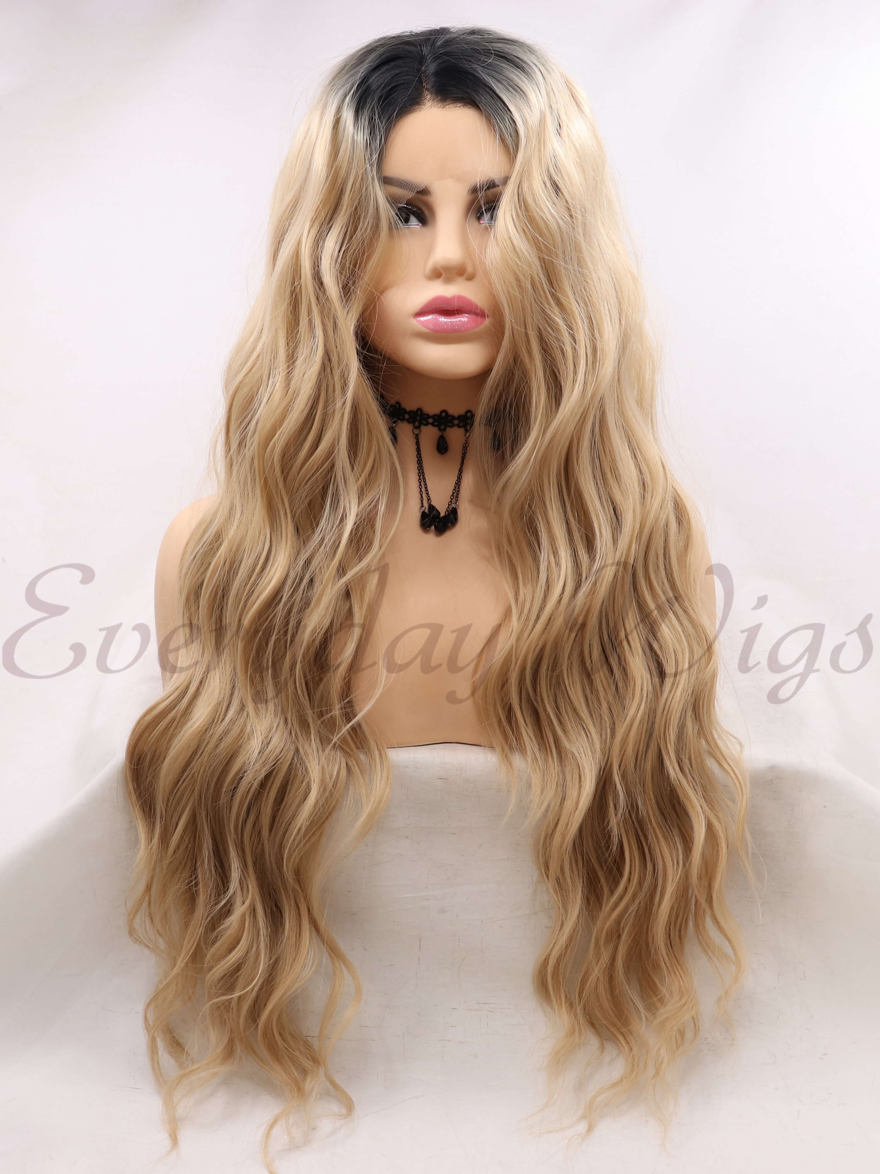 "24"" White Wave Synthetic Lace Front Wigs-edw1086"