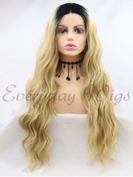 "26"" Long Ombre Blonde Synthetic Lace Wigs- edw1087"
