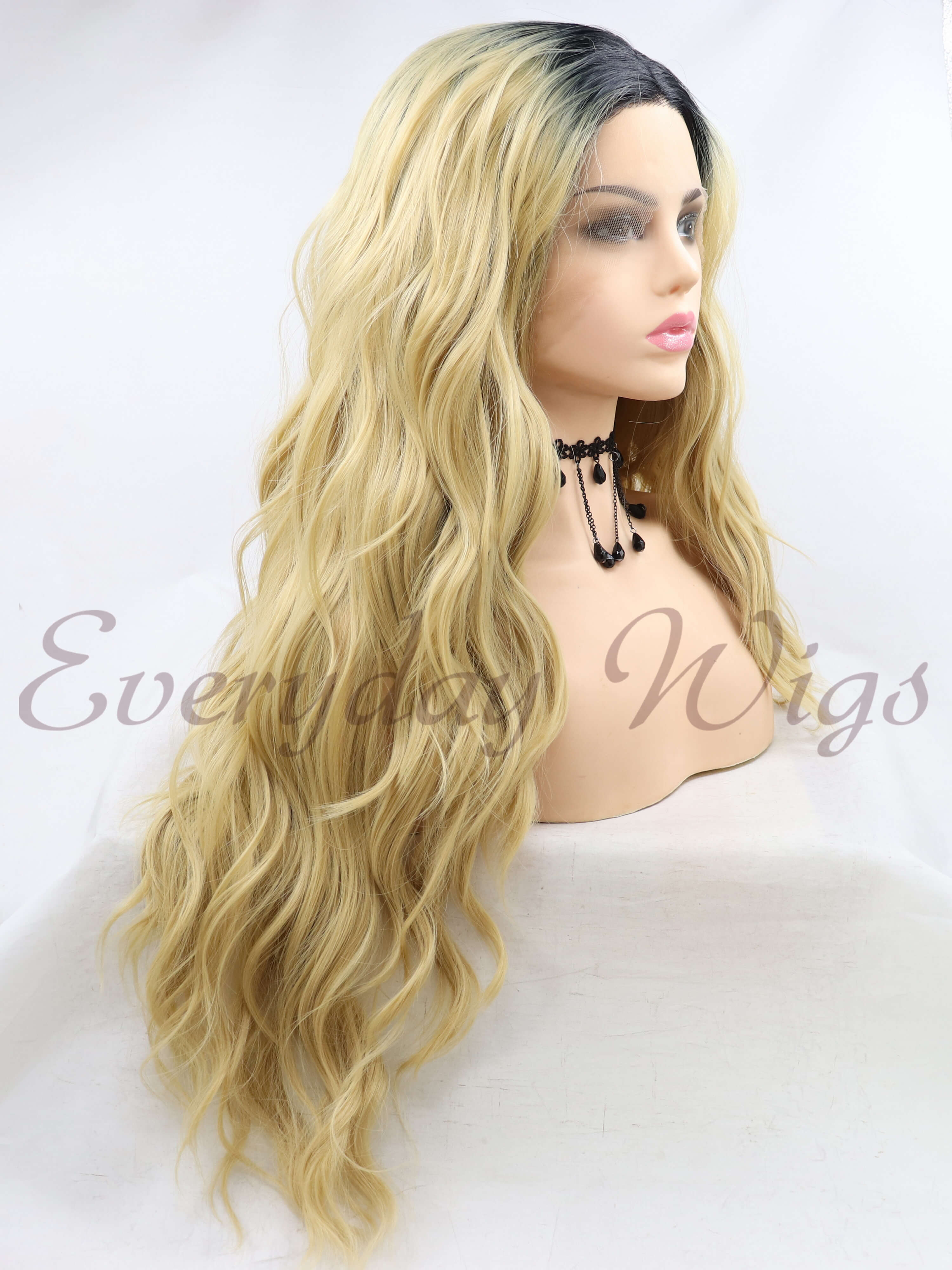 "24""Ombre Blue Wavy Synthetic Lace Front Wig-edw1087"