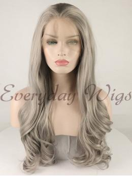 "24"" Grey Wavy Synthetic Lace Front Wig-edw1088"