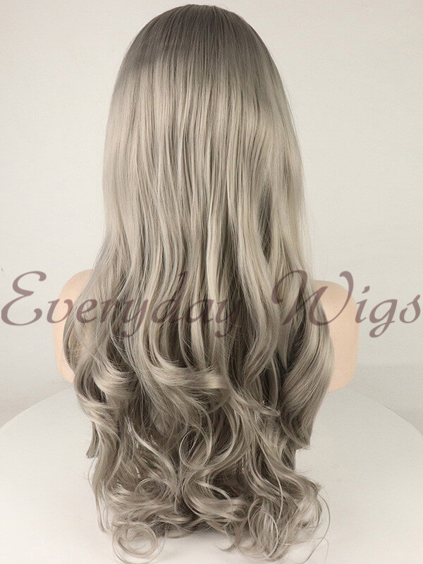 "24"" Black/Grey Ombre Wavy Synthetic Lace Front Wig-edw1088"