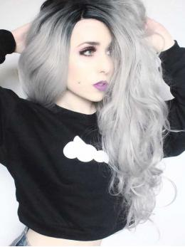 "24"" Black/Grey Ombre Wavy Synthetic Lace Front Wig-edw1089"
