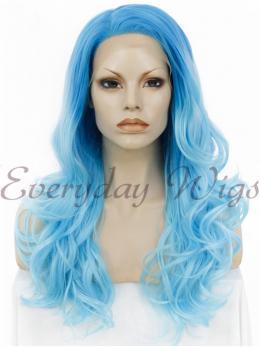 "24"" #1B-Off Black Long Wavy Synthetic Lace Front Wig - edw109"
